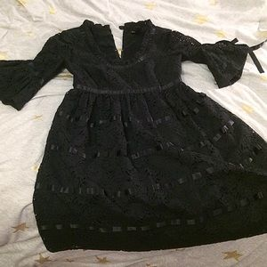 Vintage Betsey Johnson Black Lace Dress w/ Ribbon